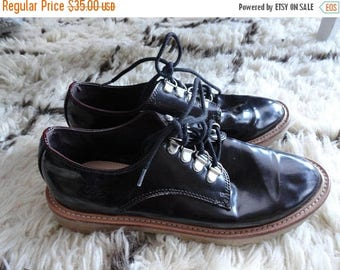 SALE Pull&Bear Black Shoes - Patent lace ups - Vitnage - size 37 6.5 7