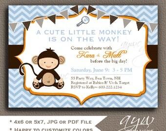 Printable Monkey Baby Shower Invitation Boy Shower Invites Monkey Shower Invitations Printable Invitation Printable Baby Shower Invitations