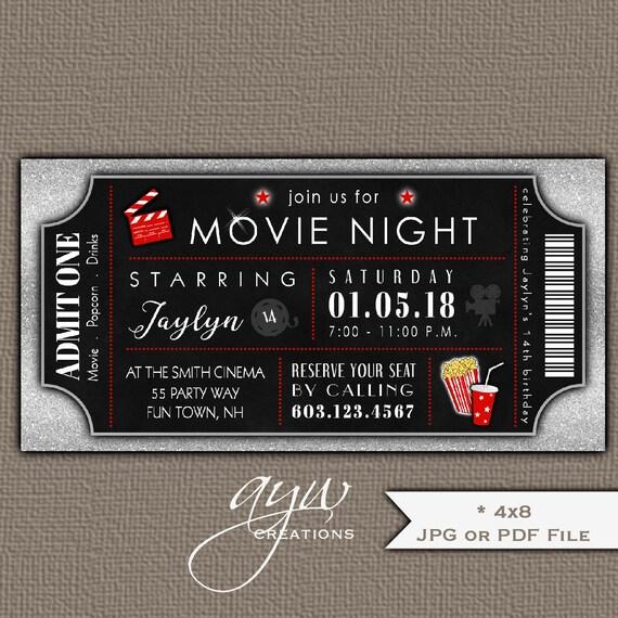 movie birthday party invitation movie night party invites movie