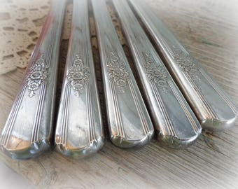 8 antique silverplate dinner knives desire pattern 1940 wm rogers, floral handle set of 8 craft knives jewelry supplies