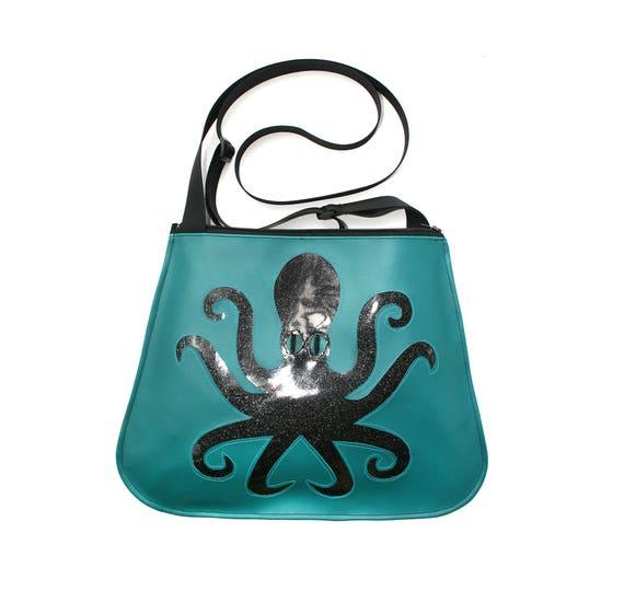 SALE! Sparkle vinyl, octopus, turquoise vinyl, vegan, crossbody