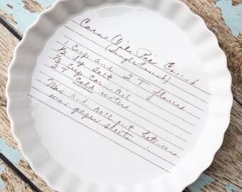 Oven safe Quiche dish, custom plate, custom pan, bridal shower cookware, cookware, white ceramic, recipe pan, recipe plate, wedding gift