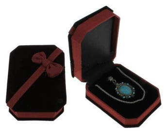 2pc Red Velveteen Jewelry Set Box