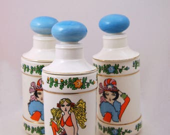 1960s - 70s Enesco Canister Set - 60s Flower Child Hippie Motif - Bathroom Jars - Mod Girls - Ceramic Lidded Jars