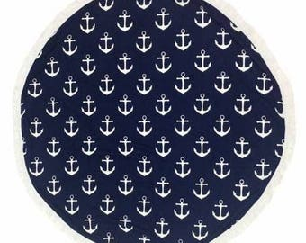 Anchor round beach towel - monogram or name included