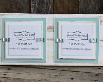 """Double 4x4 Picture Frame - Distressed Wood - Double Mats - Holds 2 - 4"""" x 4"""" Photo - White & Sky Blue"""