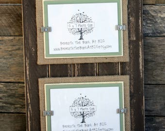 Picture Frame - Distressed Wood - Holds 2 - 5x7 Photos - Chocolate Brown, Burlap & Sage Green