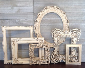ornate frame gallery set of 6 antique white frames baroque empty open wall frames - Empty Frames On Wall