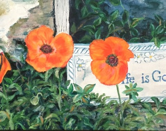 """Fine Art, Floral Painting of Poppies,  8 X 12 Original oil painting """"Life is Good"""""""