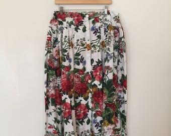 Vintage Floral Skirt / Plus Size / Vintage 1980's Skirt