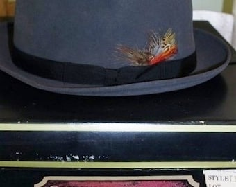 50% Off Sale Vintage Gray Felt Churchill Fedora Hat Men's SZ 7 1/4  with Feathers and Black Band Original Hat Box