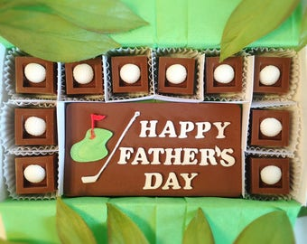 Chocolate Fathers Day Golf Gift - Happy Father's Day Golf Chocolate Squares - Unique Gift for Dad - Fathers Day Gift