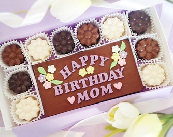 Birthday Chocolates - Birthday Gift for Mom - Happy Birthday Mom Chocolates - Chocolate Flowers - Gift for Her