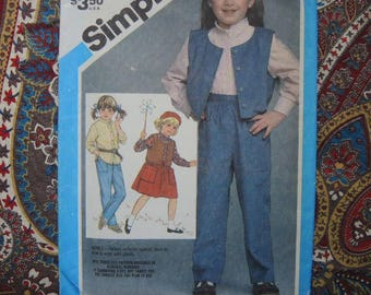 vintage 1980s simplicity sewing pattern 6608 girls pull on pants skirt shirt and lined vest  size 3-4-5 UNCUT