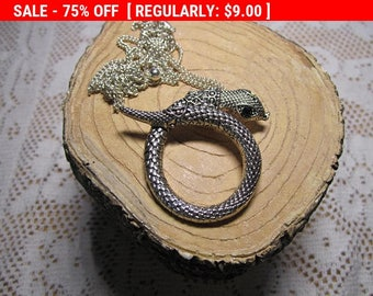 SALE Vintage snake pendant, destash craft repurpose pendant, missing rhinestone eye