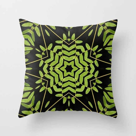 Green Leaves Kaleidoscope Decorative Throw Pillow, Nature Lover, Throw Pillow, Pillow Covers, Pillow, Photography, Abstract Art, Home Decor