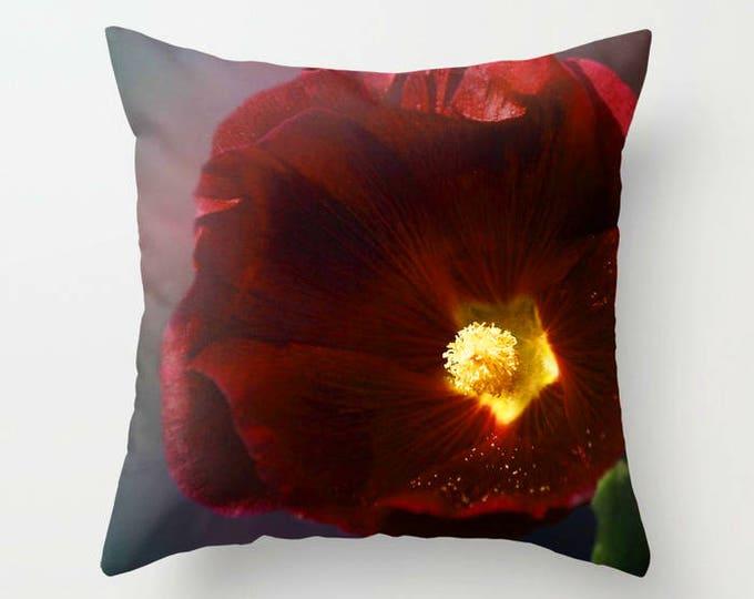 Burgundy Hollyhock Photo Throw Pillow, Floral Pillow, Flower Photogaphy, Throw Pillow, Home Decor, Botanical Pillow