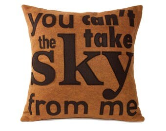 You Can't Take The Sky From Me- Appliqued Eco Felt Pillow Cover in Cocoa Brown and Copper - 18 inches