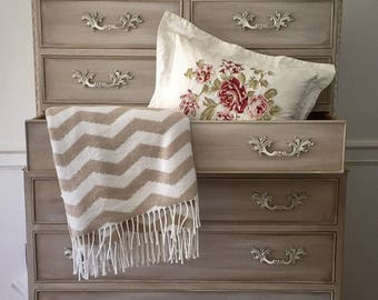 SOLD  Vintage Dresser, Hand Painted Dresser, Farmhouse Dresser, Highboy Dresser, Pick up Only