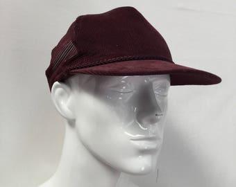 Burgundy Corduroy Trucker Hat