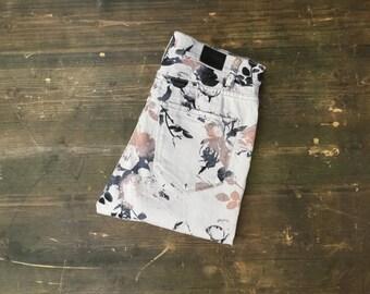 Grey Leaf Print Skinny Jeans