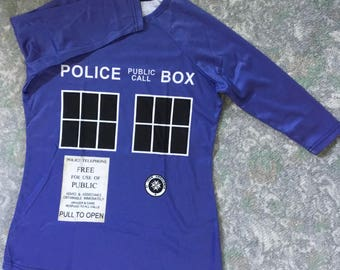 Ready-to-Ship TARDIS-Inspired 3/4 Sleeve Shirt LARGE