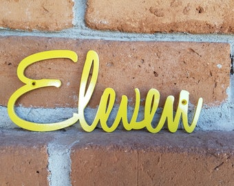 Script Yellow House Numbers,House Numbers,Metal Numbers,Address,MCM,Mid Century,Red Numbers,Modern,Outdoor,Script,House Warming,Gift