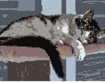 Needlepoint Kit or Canvas: Cat Nap 2