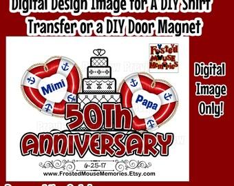 Printable Anniversary Iron On Transfer DIY Cruise Shirts Matching Anniversary Shirts DIY Cruise Door Magnets Wedding Anniversary