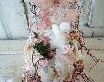 Handmade lace ribbon bird nest in vintage wire stroller carriage decoration shabby cottage chic millinery flowers decor anita spero design