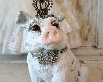Rustic farmhouse pig statue with crown wide eyed gray white vintage hog statuary embellished ornate rhinestone home decor anita spero design