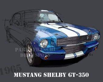 MUSTANG SHELBY GT350 8.6x12in and bigger sizes,home decor,gift for men,bedroom decoration,office decoration,yellow and grey print
