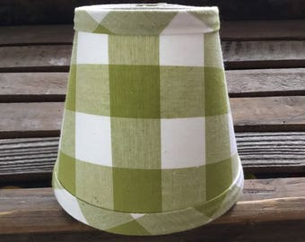 Lime Olive Green And White Gingham Chandelier Lampshade Large Check