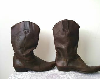 Cowboy Boots Genuine Leather Boots Brown Boots Cowboy Boots Vintage Cowboy Boots Cowboy Leather Boots US 11 UK10.5 EU 44 Bill Montana Boots