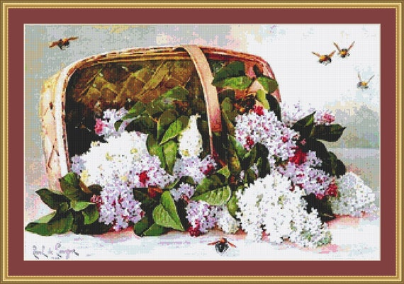 Basket Of Victorian Lilacs Cross Stitch Pattern - Instant Download / PDF Pattern