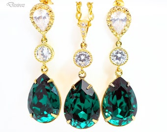 Emerald Green Earrings Necklace Set Green Jewelry Holiday Jewelry Jewelry Sets Swarovski Jewelry Dark Green Jewelry Cubic Zirconia EM31JS