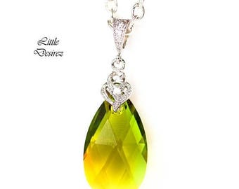 SALE Green & Yellow Necklace Swarovski Crystal Green-Topaz Blend Colorful Jewelry Bridesmaid Gift Teardrop Pendant Unqiue Crystal Jewelry GT