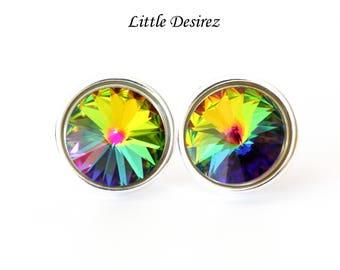 Colorful Swarovski Earrings Vitrail Medium Rivoli Crystal Bridesmaid Earrings Round Post Earrings Stud Earrings Colorful Jewelry VM34