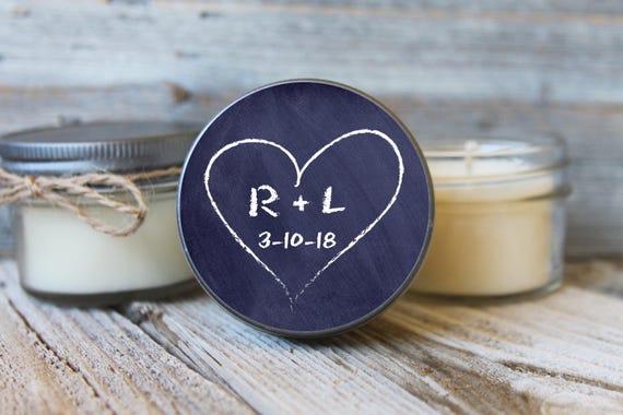 Set of 12 - 4 oz Soy Candle Wedding Favors  Chalkboard Heart Label Design  Personalized Wedding Favors // Chalkboard Wedding Favors Initials