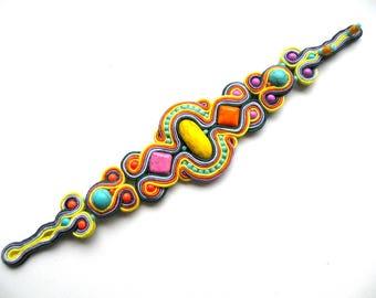 Soutache-bracelet-hand embroidery-soutache earrings-boho OOAK Bahamas