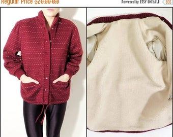 25% OFF Vintage Cardigan / Burgundy Cardigan /Sherpa Sweater / Sherpa Cardigan / Woman Cardigan