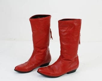 SALE Red Leather Boots / Size 41 Boots / Woman Leather Boots / Woman Red Boots / Warm Boots / Vintage Red Boots / Winter Boots / Isko Finlan