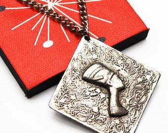 Pharaoh necklace - Egypt Revival - Repousse Silver - Boho pendant necklace - Nefertiti