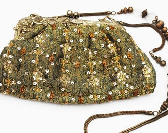 Olive Green Viscose India Beaded Evening Bag -  Brass Clutch purse - Bag with mirror - Seguence
