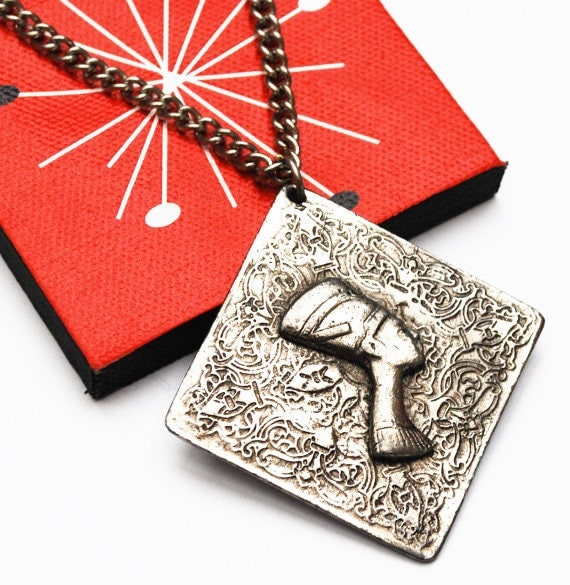 Pharaoh necklace - Egypt Revival - Repousse Silver - Boho pendant necklace - Nefertiti