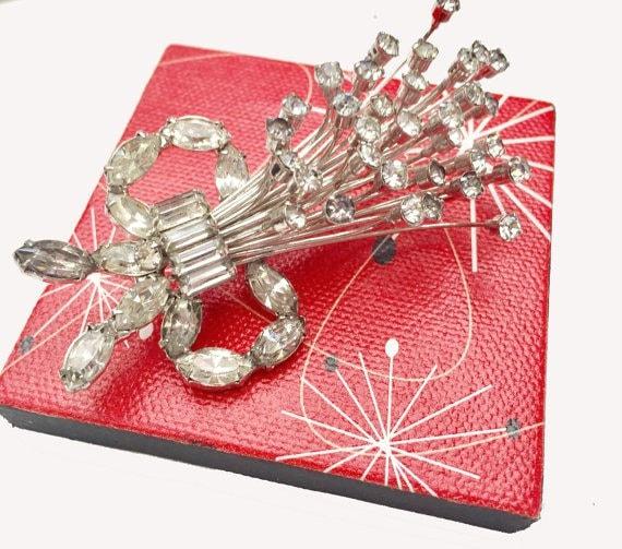 Rhinestone Flower spray brooch- ice crystal -Mid Century flora  pin