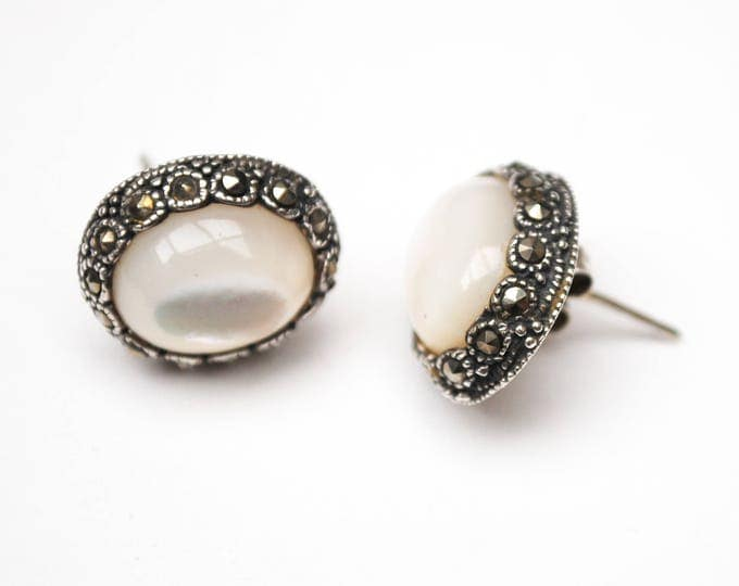 White Polished Moonstone earrings - in Oval sterling silver Marcasite setting pierced stud earring