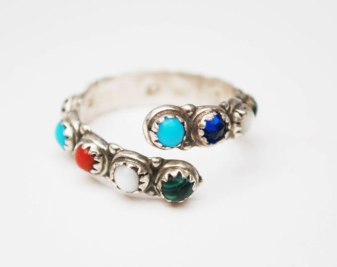 Silver Gemstone Cuff ring - Multi color inlay stone - size 9 ring -turquoise malachite,moonstone coral lapis - signed MCA