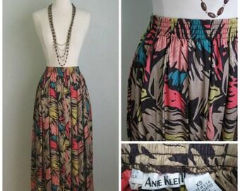 1980's Silk Anne Klein Midi Skirt// Autumn Brights// XS