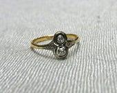 "LAYAWAY - 150 of 365 - Edwardian Platinum and 18k Gold ""Moi et Toi"" Diamond Ring"